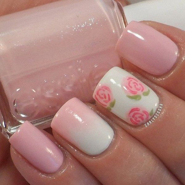 Elegant White and Baby Pink Floral Nail Design.