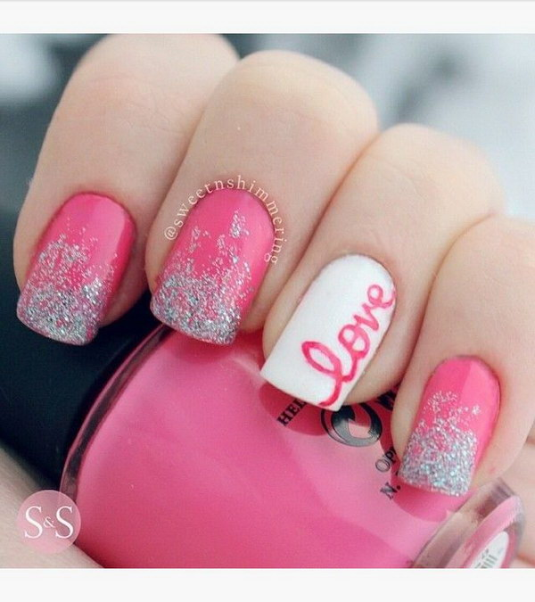 >Hot Pink & White Valentine's Nail Design. - 50 Lovely Pink And White Nail Art Designs
