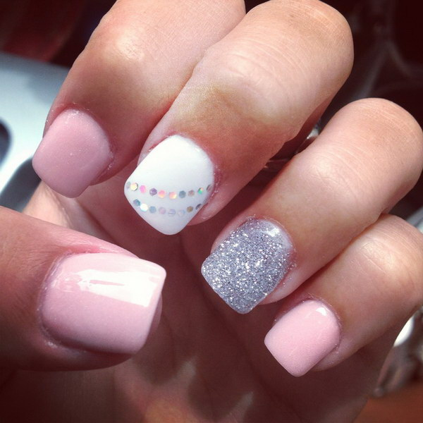Baby Pink, White and Silver Short Nail Design with A Bit of Sequins for  Detail - 50 Lovely Pink And White Nail Art Designs