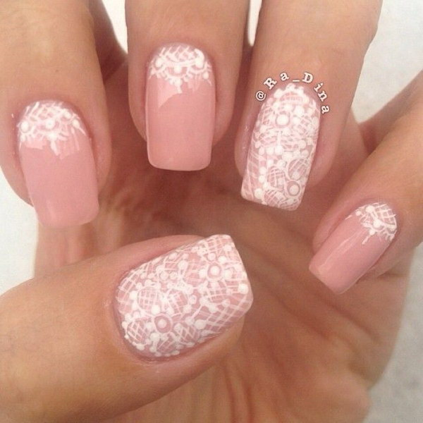 50 lovely pink and white nail art designs pink and white lace nail design prinsesfo Choice Image