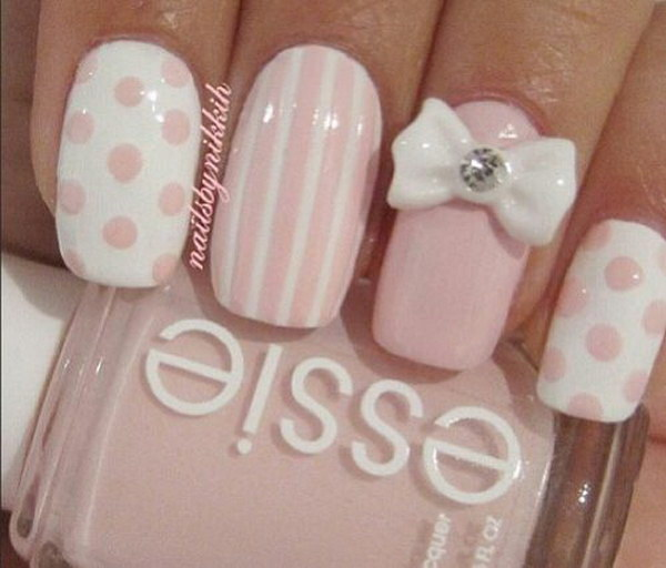 Pink White Nails With Polka Dots Strips And Studded Bow
