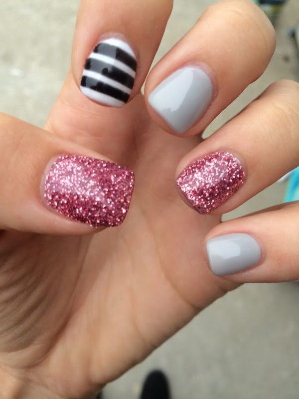 Striped and Glittery Design for Short Nails.