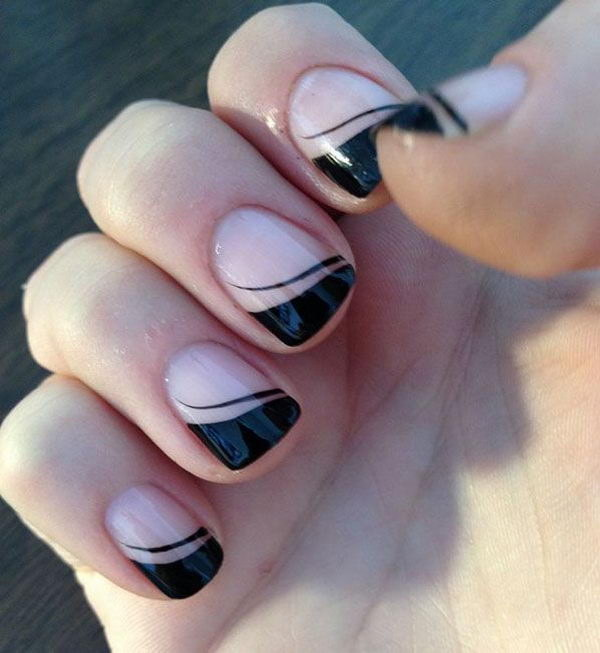 Black Tipped Nail Design.