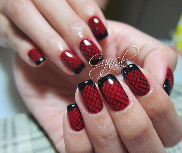 Lattice Red and Black Nail Design.