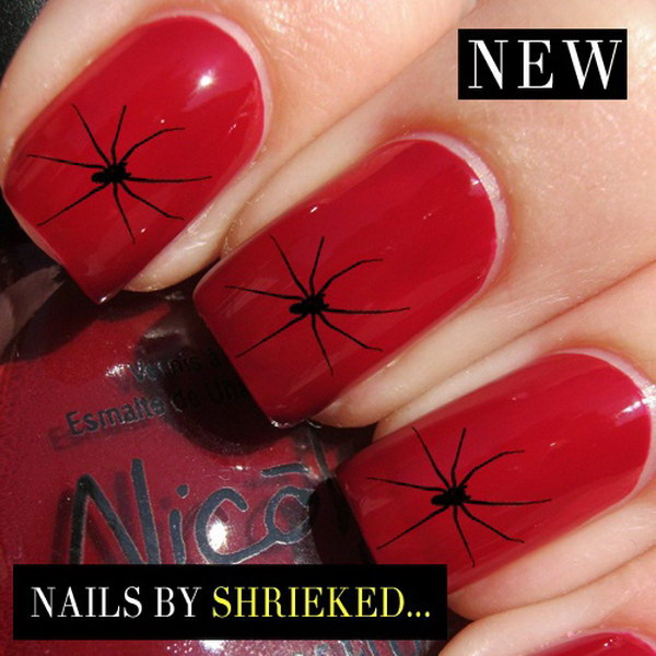 Black Spider on Red Nails.