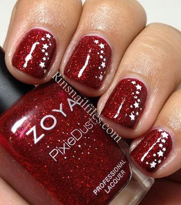 Red Glitter Manicure with Star Stamps.