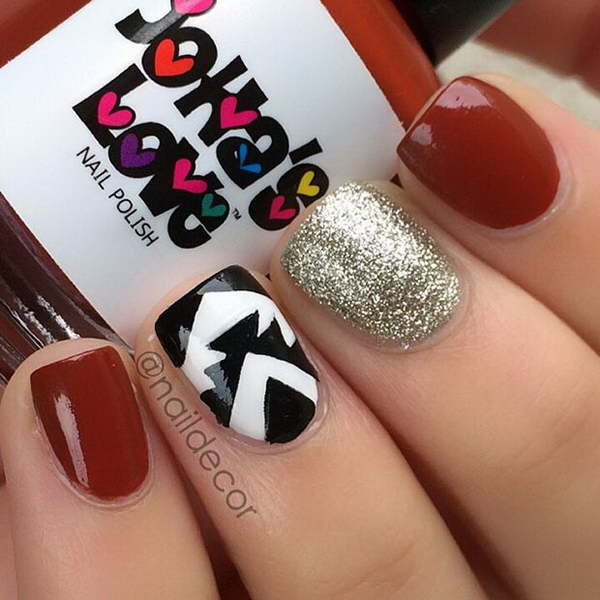 35 cute nail designs for short nails red gold and black nail design prinsesfo Image collections