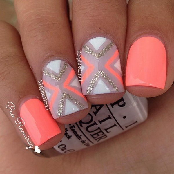 Neon Orange Nail Design for Short Nails.
