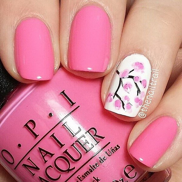 Pink Spring Nail Design With Cherry Blossom.