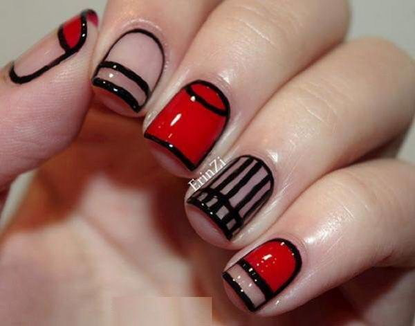 Red and Black Striped Nail Design.
