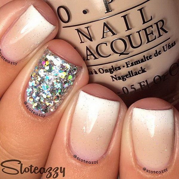 Sparkly Ombre Nude Nails.