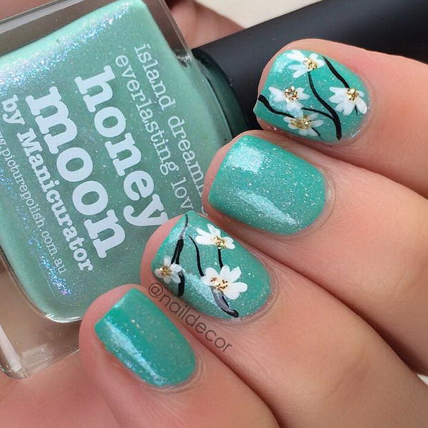 Flower Turquoise Nail Design.