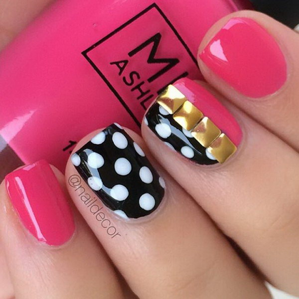 Pink And Black Nail Design For Short Nails.