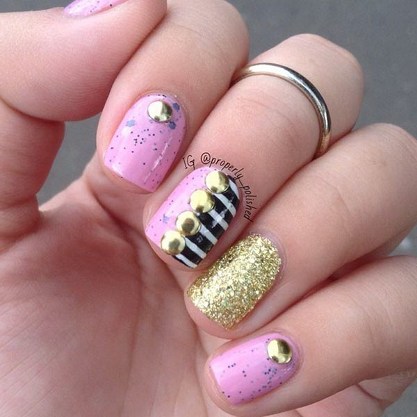 Studded Nail Design for Short Nails.
