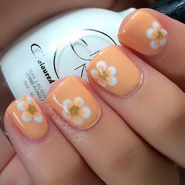 Orange Flower Nail Design.