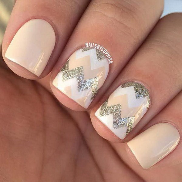 Nude, White and Silver Chevron Nail Design.