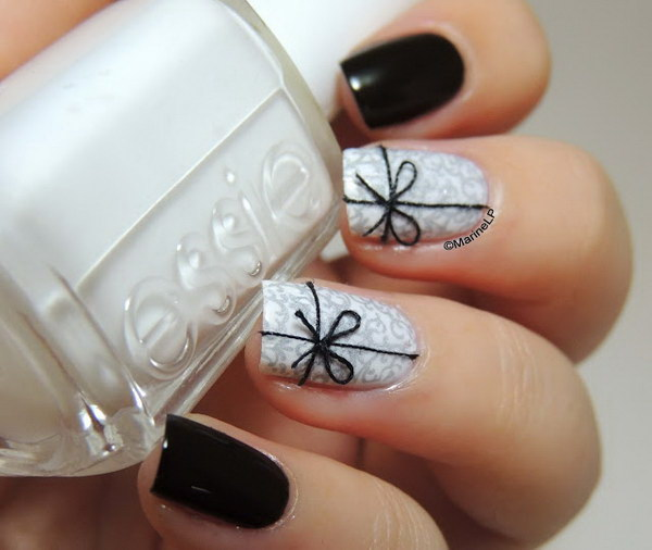 Black and White Present Nail Design.