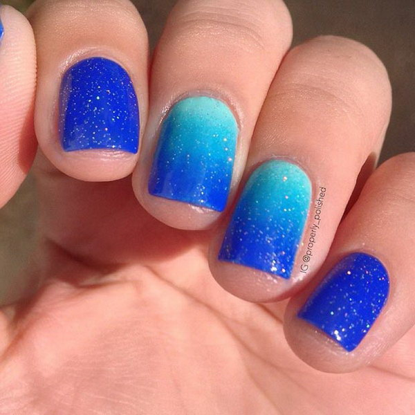 Sparkly Blue Ombre Nails.