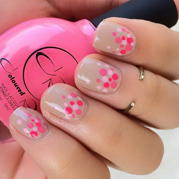 Nude And Pink Dot Nail Design.