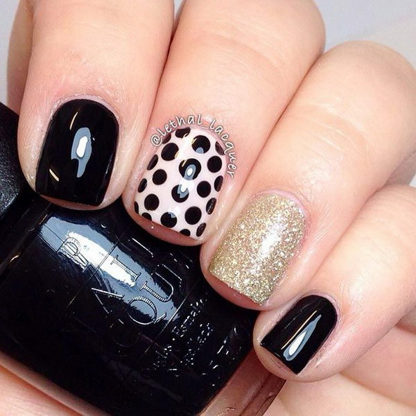 Black and Gold Nail Design for Short Nails.