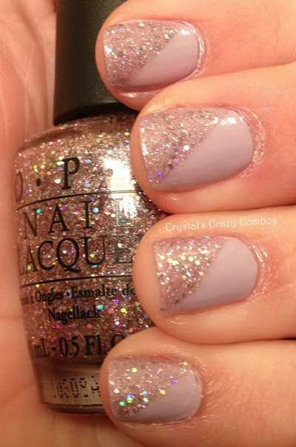 Glitter and Nude Nails.