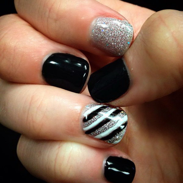 Black, White and Silver Nail Art Design.