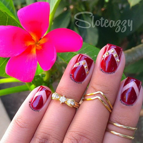 Dark Red & Gold Details Nail Design.