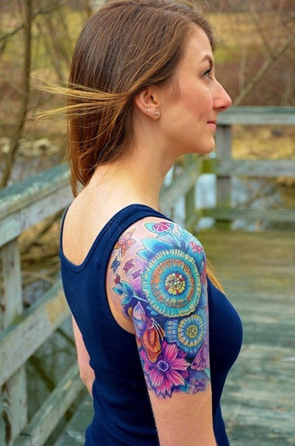 40 cool and pretty sleeve tattoo designs for women for Tattoo sleeve ideas girl