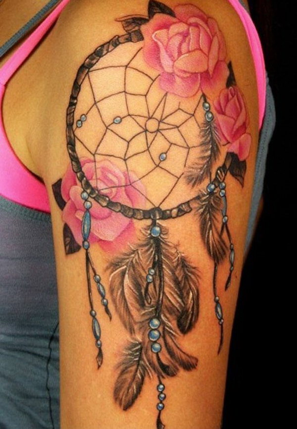 Dreamcatcher and Roses Sleeve Tattoo Design for Women.