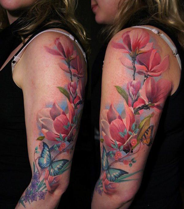 Magnolia Flowers Tattoo on Sleeve for Women.
