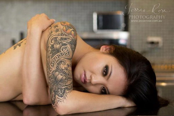 Lace Half Sleeve Tattoo for Girls.