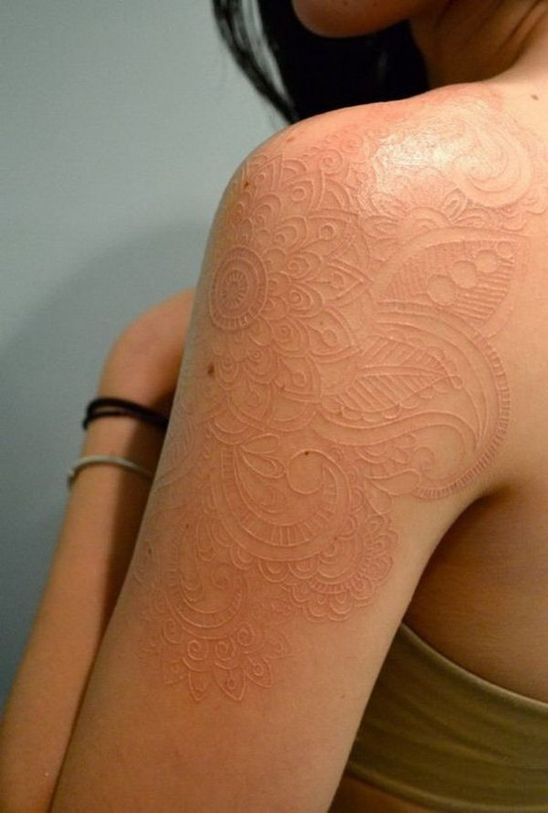 White Ink Sleeve Tattoo for Women.