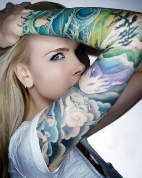 Japanese Style Full Sleeve Tattoo for Women.