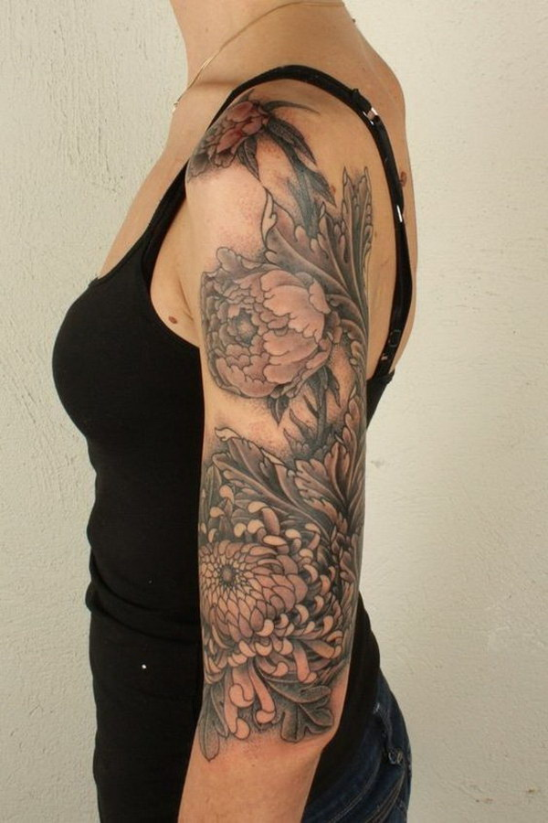 Chrysanthemum Sleeve Tattoo for Women.