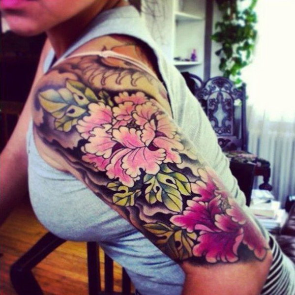 Peony Tattoo Design on Sleeve.