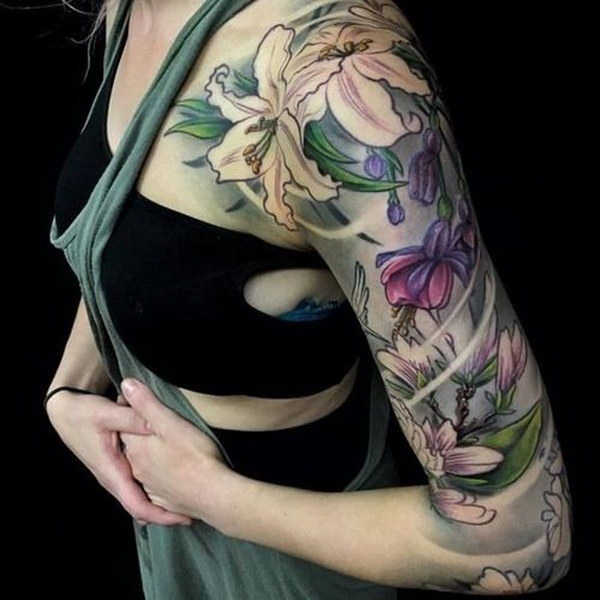 Colorful Flower Half Sleeve Tattoos for Girls.