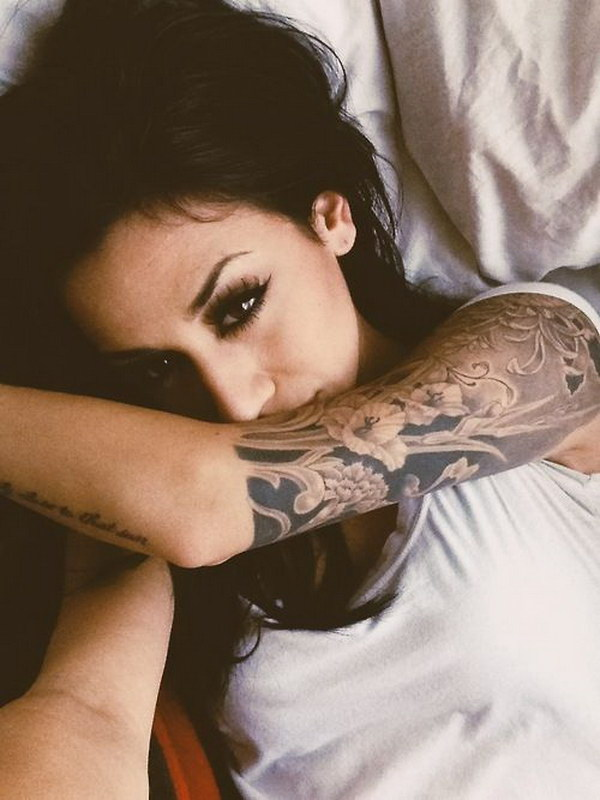 Nice Half Sleeve Tattoo In Black And Grey
