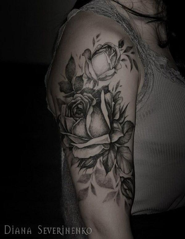 Black and White Tattoo on Sleeve.