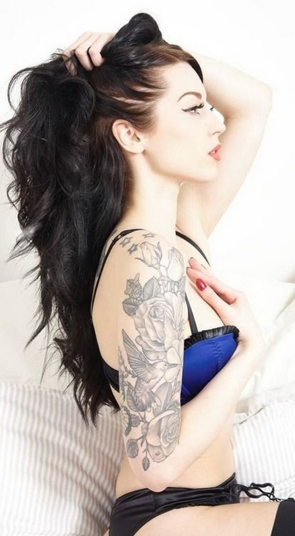Pretty Floral and Bird Half Sleeve Tattoo.