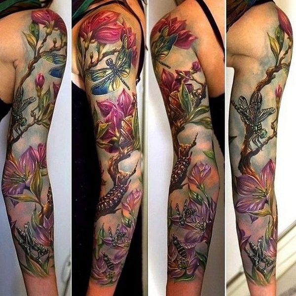 Floral Full Sleeve Tattoo Design for Women.