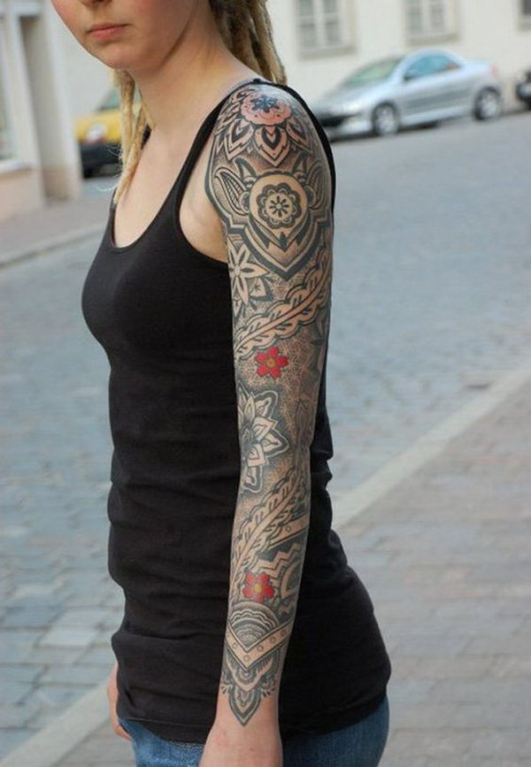 40 cool and pretty sleeve tattoo designs for women. Black Bedroom Furniture Sets. Home Design Ideas