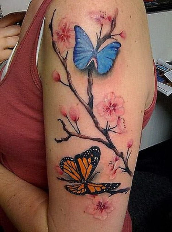 Butterfly Tattoos with Flowers for Women.