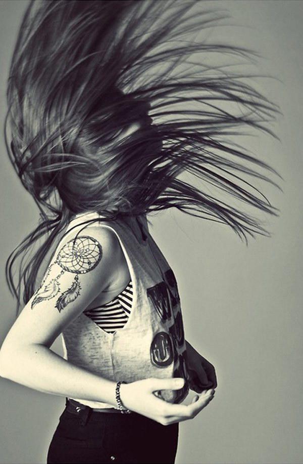 Dreamcatcher Quarter Sleeve Tattoo for Women.