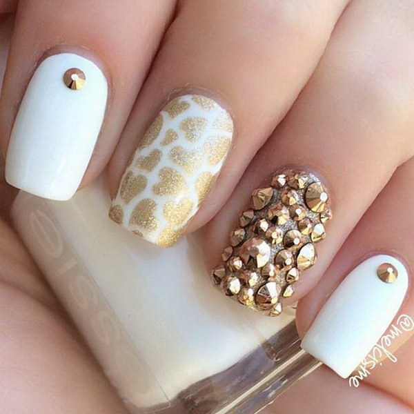 White & Gold Studded Nail Design - 35 Elegant And Amazing White And Gold Nail Art Designs