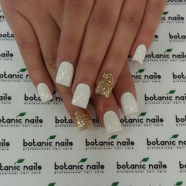 White Nails With Gold Glitter Sequins