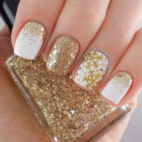 White and Gold Snowflake Nail Design - 35 Elegant And Amazing White And Gold Nail Art Designs
