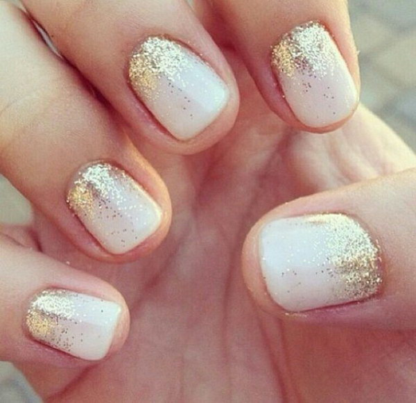 35 elegant and amazing white and gold nail art designs white nails with gold sparkles prinsesfo Choice Image
