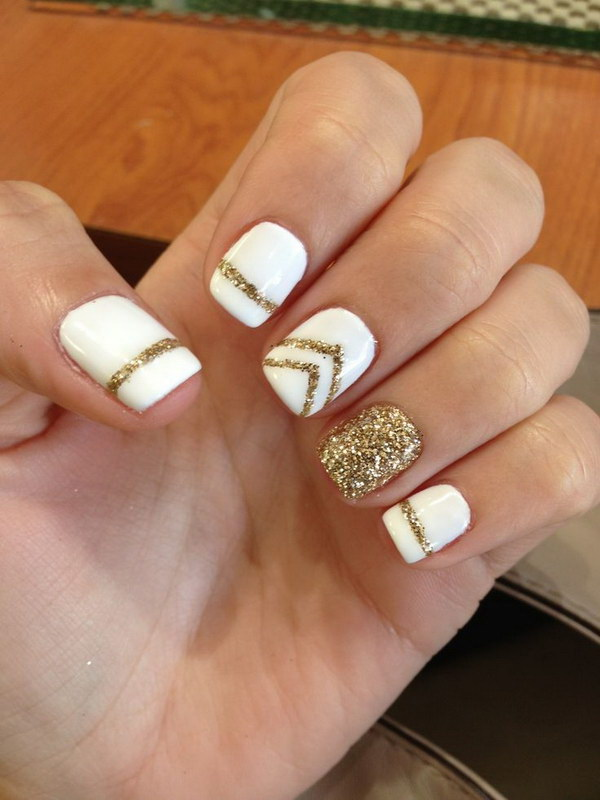 Gold and White Gel Manicure - 35 Elegant And Amazing White And Gold Nail Art Designs
