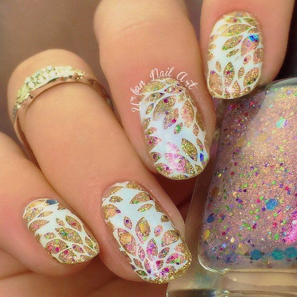 Gold and White Floral with Glitter.