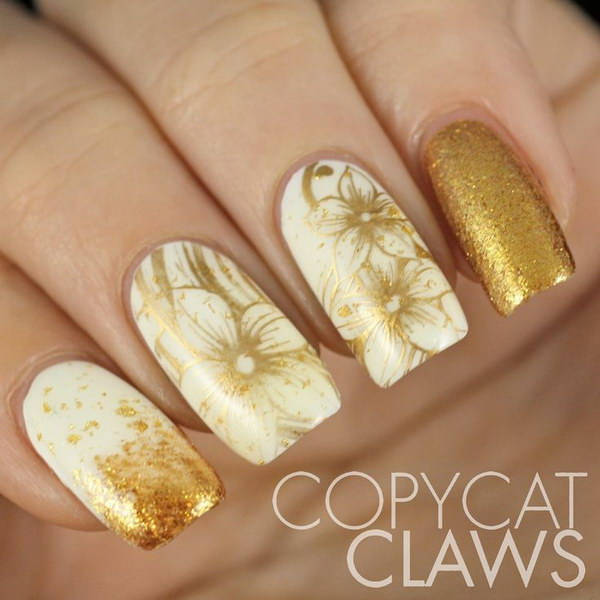 White and Gold Floral Nail Art.
